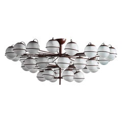 Large Thirty Six Lights Chandelier with Glass Globes