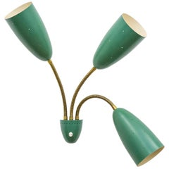 Large Three-Arm Wall Light with Pierced Green Cones, 1950s