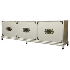Large Three Cabinet Pedestal Credenza by Renzo Rutili for Johnson Furniture