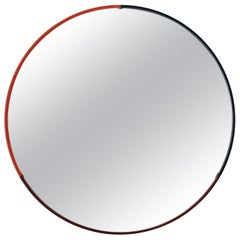 Large Three-Color Round Leather Mirror in Coral with Navy and Wine