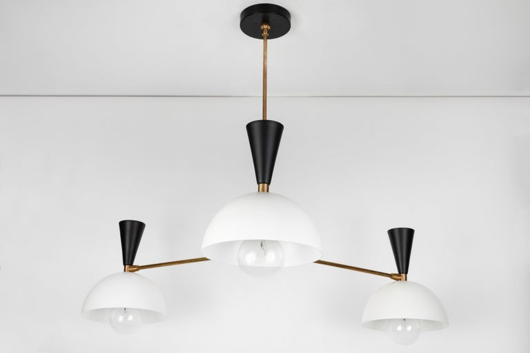 Mid-Century Modern Large Three-Cone 'Lola II' Chandelier in Black and White For Sale