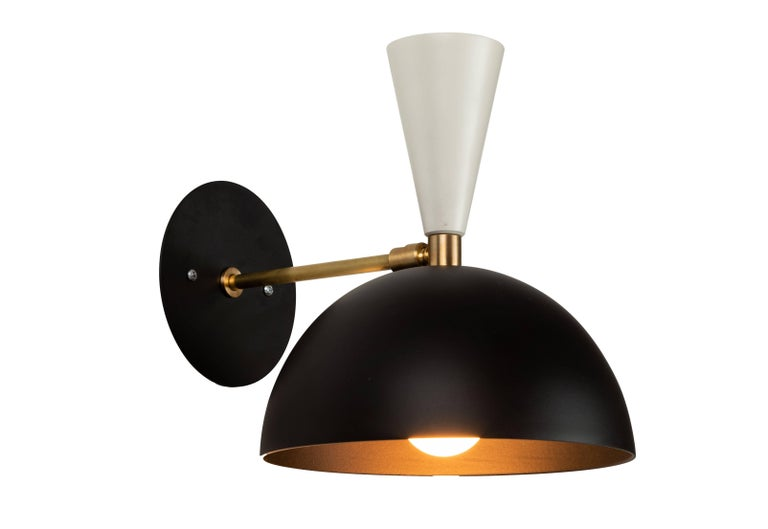 American Large Three-Cone 'Lola II' Chandelier in Black and White For Sale