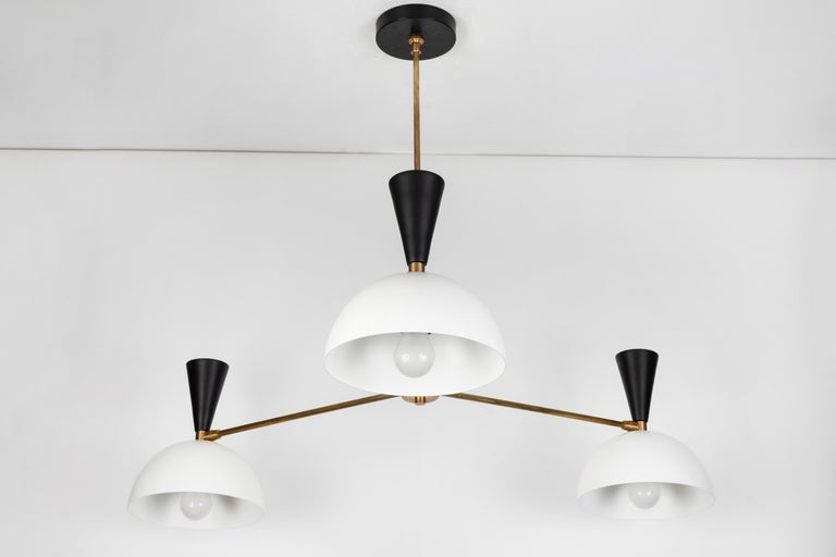 Contemporary Large Three-Cone 'Lola II' Chandelier in Black and White For Sale