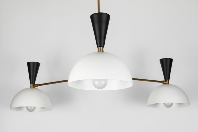 Metal Large Three-Cone 'Lola II' Chandelier in Black and White For Sale