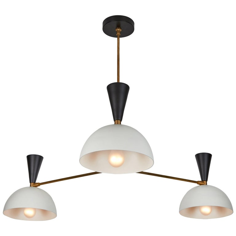 Large Three-Cone 'Lola II' Chandelier in Black and White For Sale