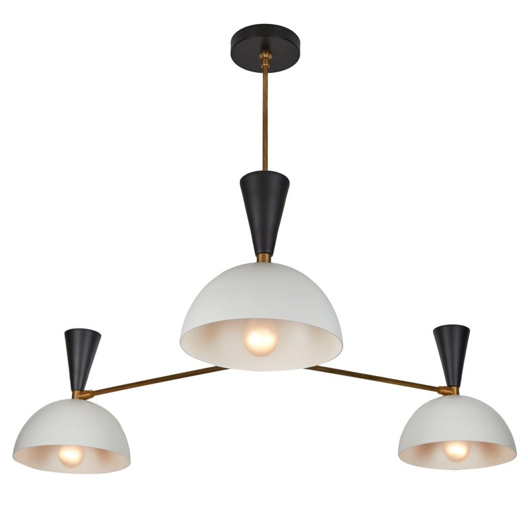 Large Three-Cone 'Lola ii' Chandelier in Black For Sale 5