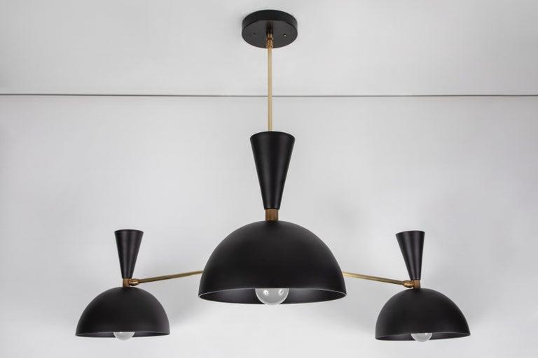 Mid-Century Modern Large Three-Cone 'Lola ii' Chandelier in Black For Sale