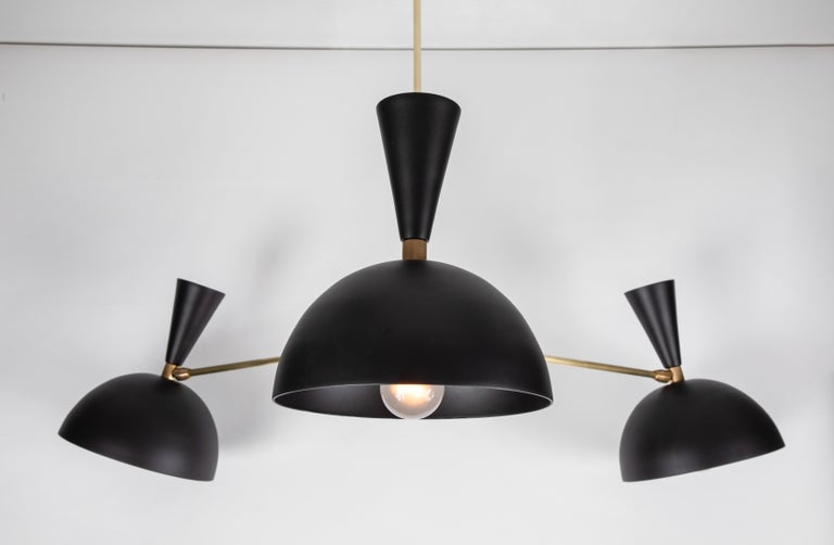 American Large Three-Cone 'Lola ii' Chandelier in Black For Sale