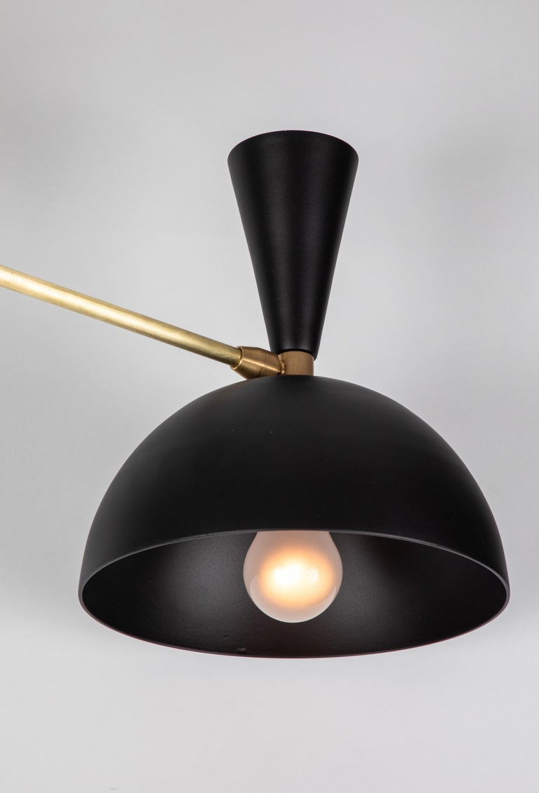 Large Three-Cone 'Lola ii' Chandelier in Black In New Condition For Sale In Glendale, CA