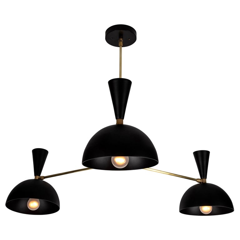 Large Three-Cone 'Lola ii' Chandelier in Black For Sale