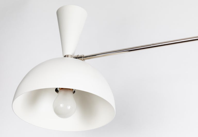 Large Three-Cone 'Lola II' Chandelier in White and Chrome For Sale 2