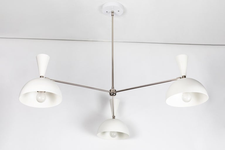 Large Three-Cone 'Lola II' Chandelier in White and Chrome For Sale 3