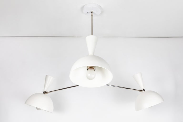 Large Three-Cone 'Lola II' Chandelier in White and Chrome For Sale 5
