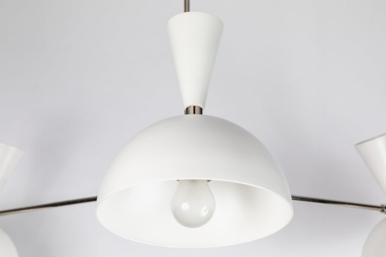 Large Three-Cone 'Lola II' Chandelier in White and Chrome For Sale 6