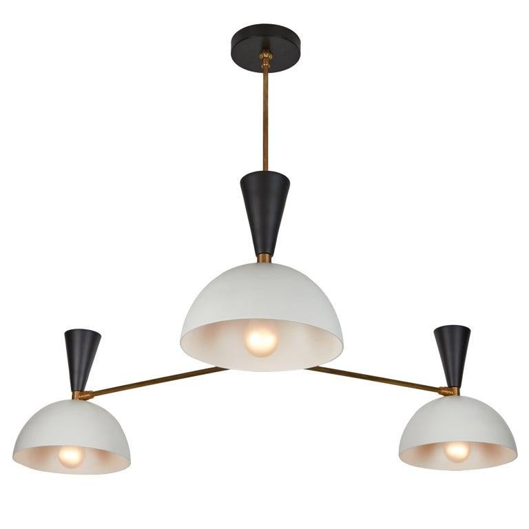 Large Three-Cone 'Lola II' Chandelier in White and Chrome For Sale 10