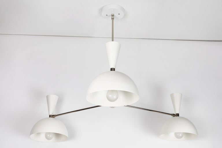 Large Three-Cone 'Lola II' Chandelier in White and Chrome For Sale 1