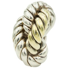 Large Three Dimensional Sterling Silver Vermeil Freeform Twisted Rope Ring