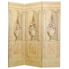 Large Three-Panel Neoclassical Folding Room Dividing Screen, 20th Century
