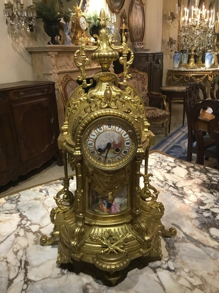 Large Three-Piece French 19th Century Clock/Garniture Set Louis XVI Style For Sale 5