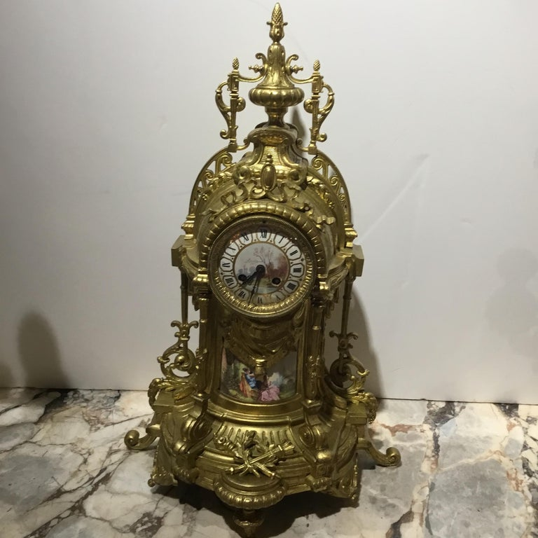 Large Three-Piece French 19th Century Clock/Garniture Set Louis XVI Style In Good Condition For Sale In Houston, TX