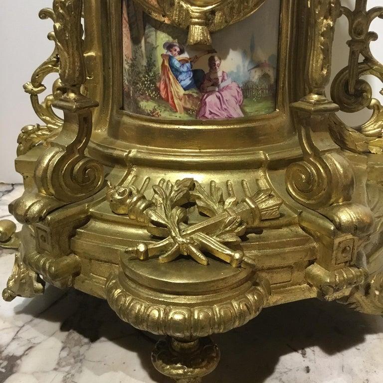 Bronze Large Three-Piece French 19th Century Clock/Garniture Set Louis XVI Style For Sale