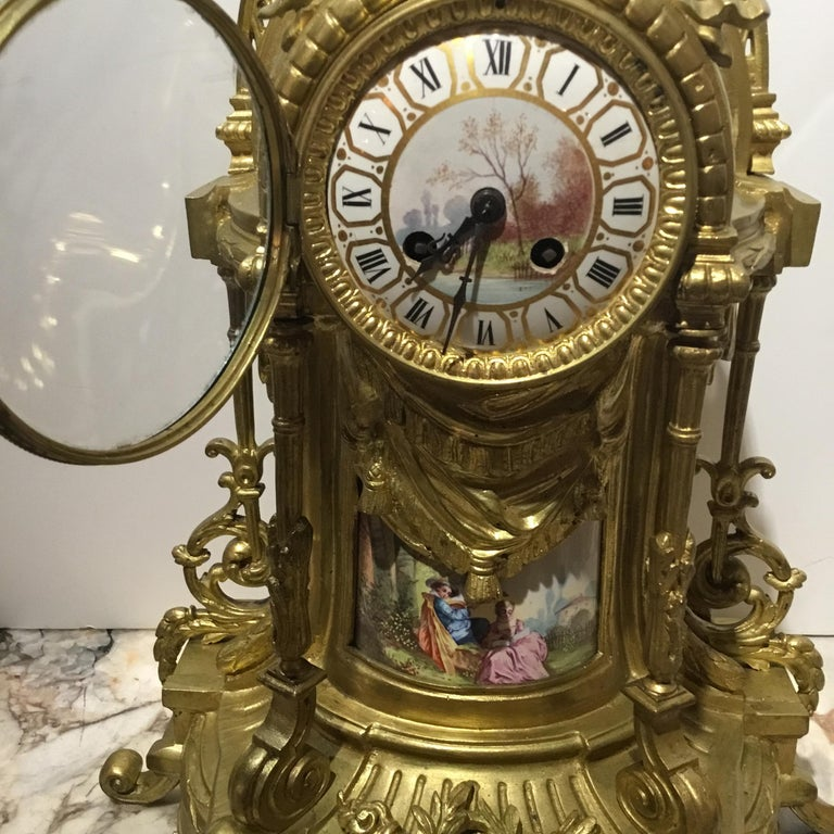 Large Three-Piece French 19th Century Clock/Garniture Set Louis XVI Style For Sale 1