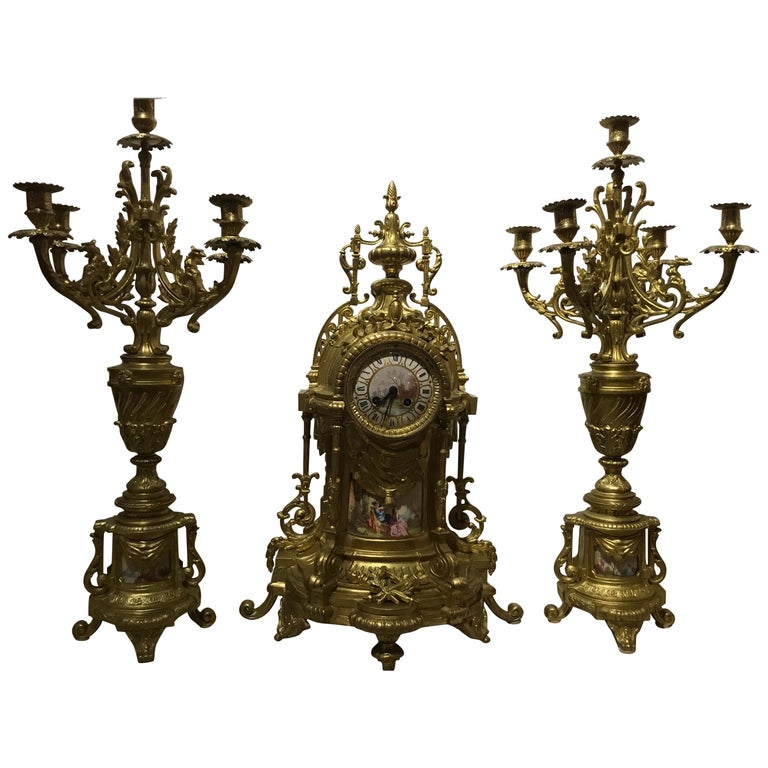 Large Three-Piece French 19th Century Clock/Garniture Set Louis XVI Style For Sale