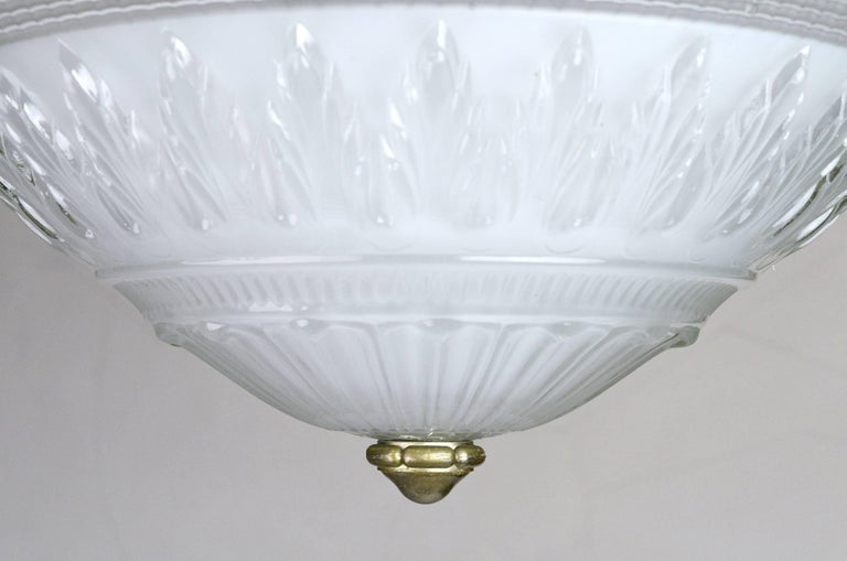 Industrial Large Three-Piece Holophane Flush Mount For Sale