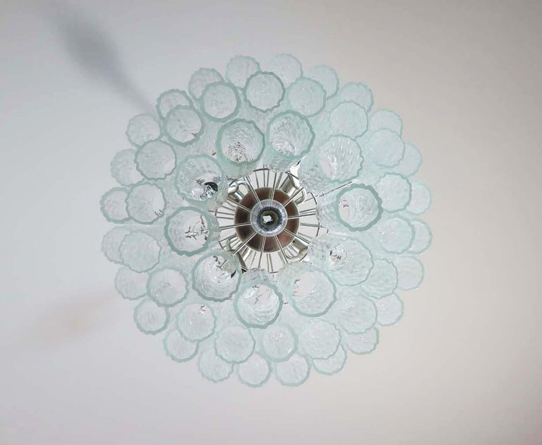 Large Three-Tier Murano Glass Tube Chandelier For Sale 3
