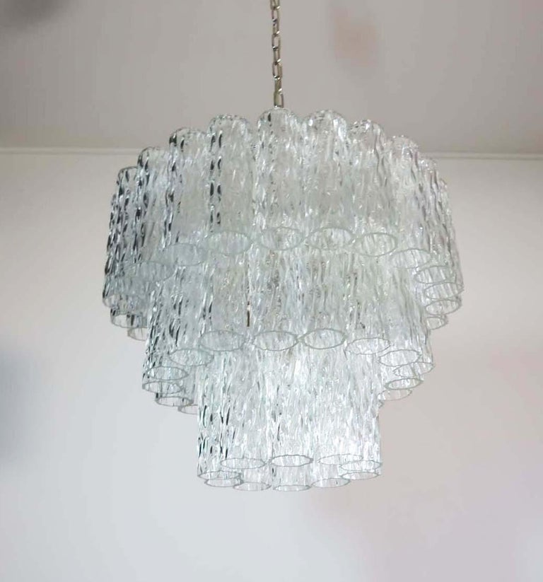 Large Three-Tier Murano Glass Tube Chandelier For Sale 4