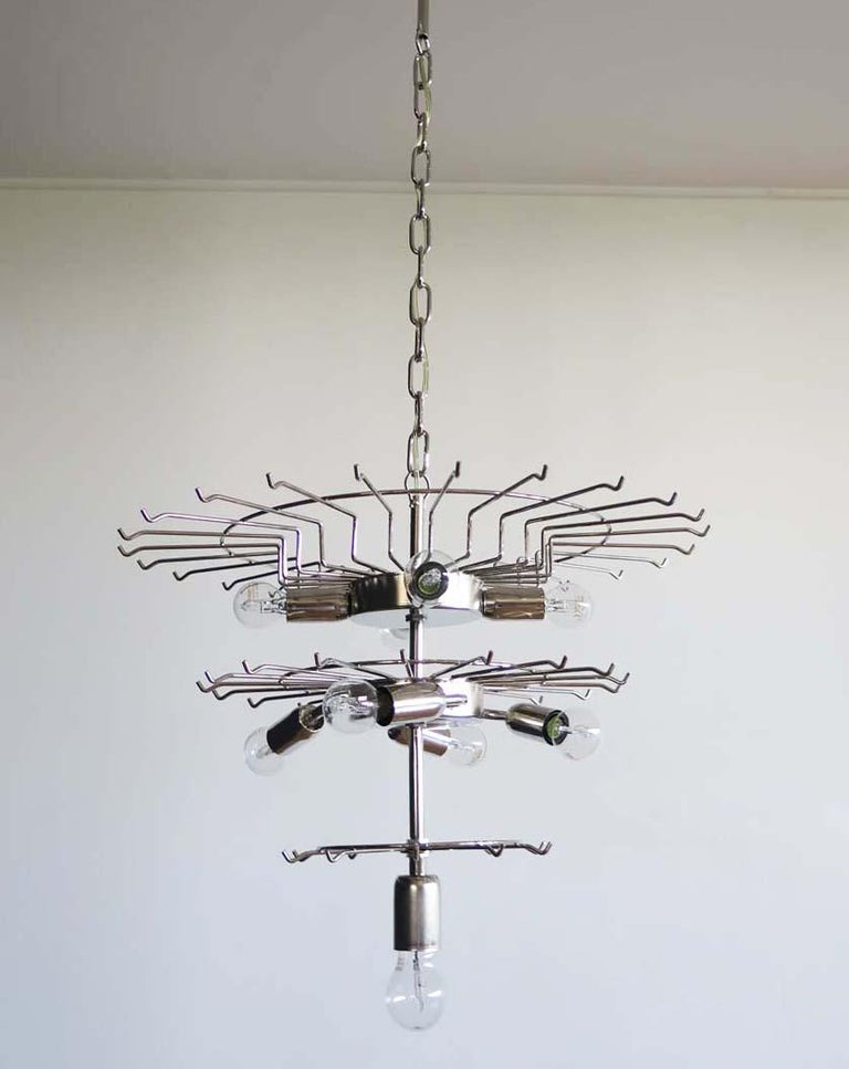Large Three-Tier Murano Glass Tube Chandelier For Sale 5