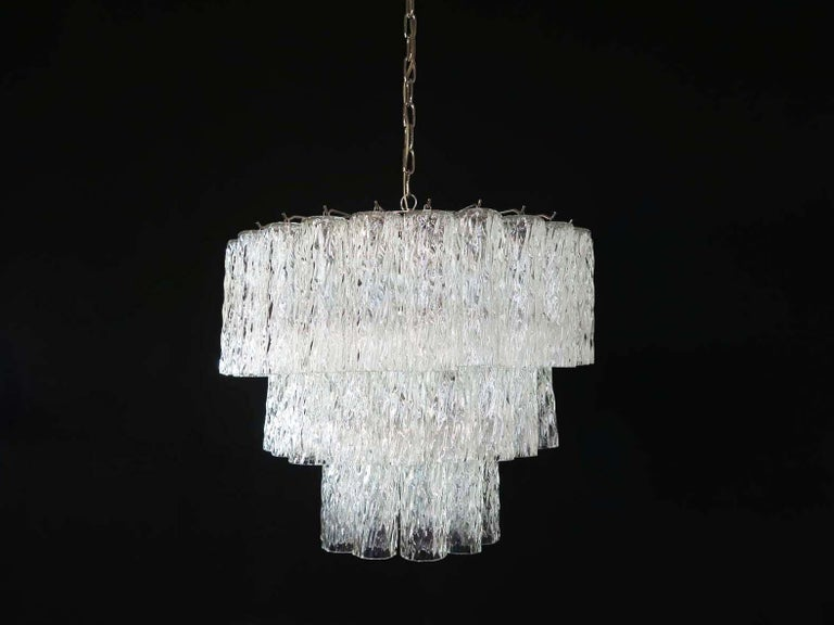 Mid-Century Modern Large Three-Tier Murano Glass Tube Chandelier For Sale
