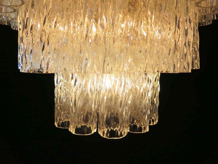 Italian Large Three-Tier Murano Glass Tube Chandelier For Sale