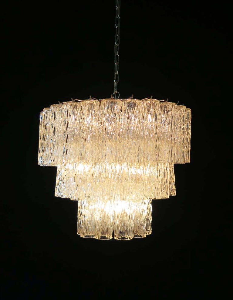 Late 20th Century Large Three-Tier Murano Glass Tube Chandelier For Sale