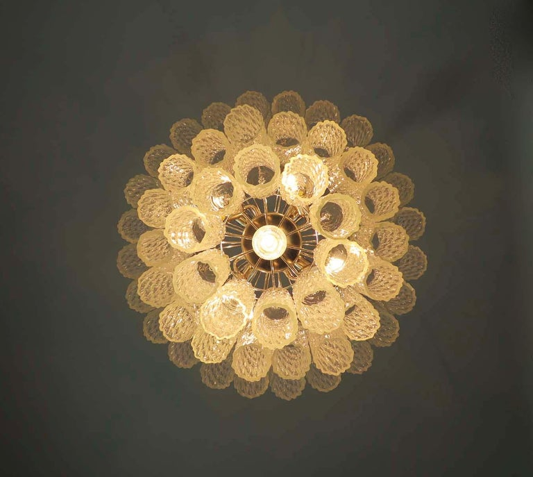 Blown Glass Large Three-Tier Murano Glass Tube Chandelier For Sale