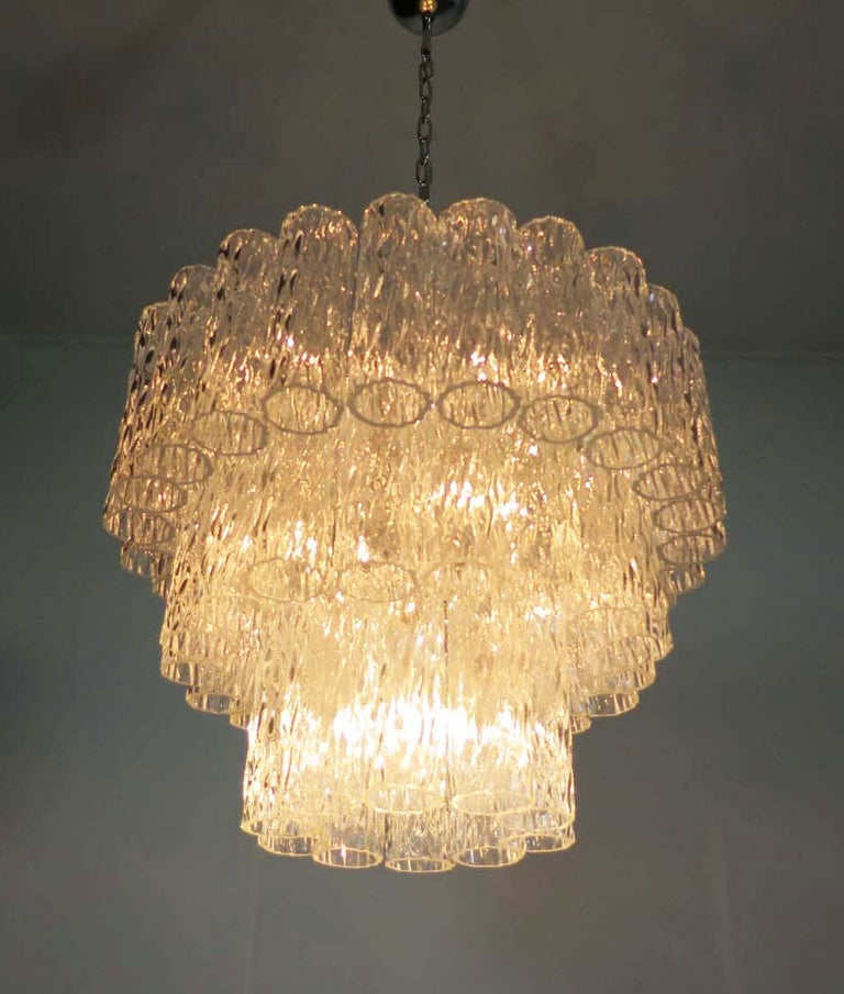 Large Three-Tier Murano Glass Tube Chandelier For Sale 1