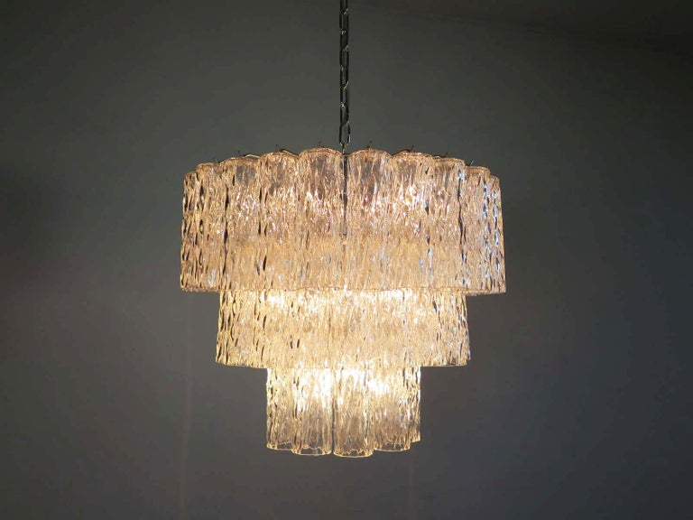 Large Three-Tier Murano Glass Tube Chandelier For Sale 2