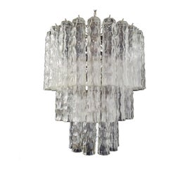 Large Three-Tier Murano Glass Tube Chandelier