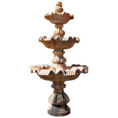Large Three-Tier Portuguese Rosa Marble Ornamental Fountain