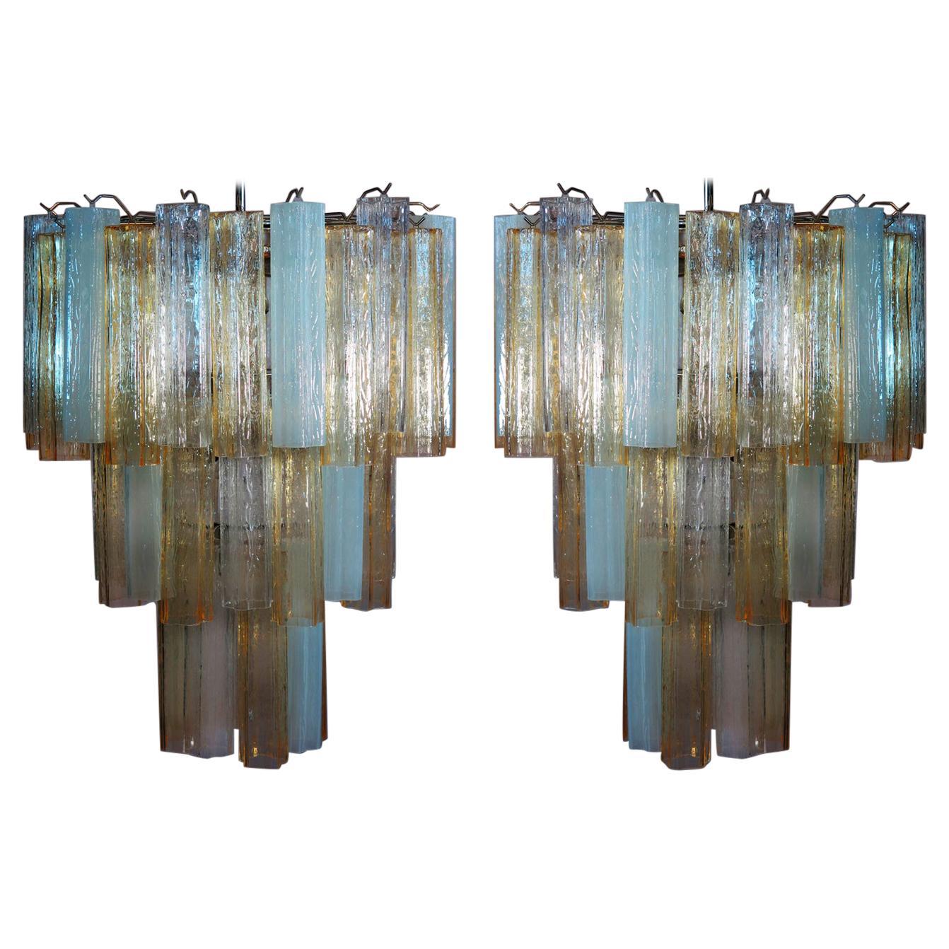 Pair Large Three-Tier Venini Murano Glass Tube Chandelier. 1980s