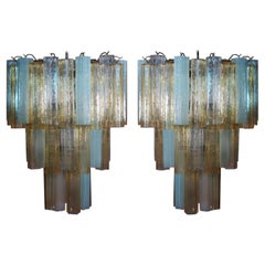Pair Large Three-Tier Venini Murano Glass Tube Chandelier. 1980s