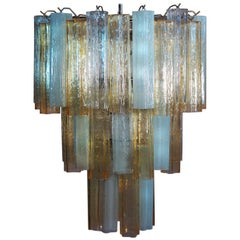 Large Three-Tier Venini Murano Glass Tube Chandelier, 1980s