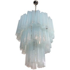 Large Three-Tier Venini Murano Glass Tube Chandelier, Opal Silk