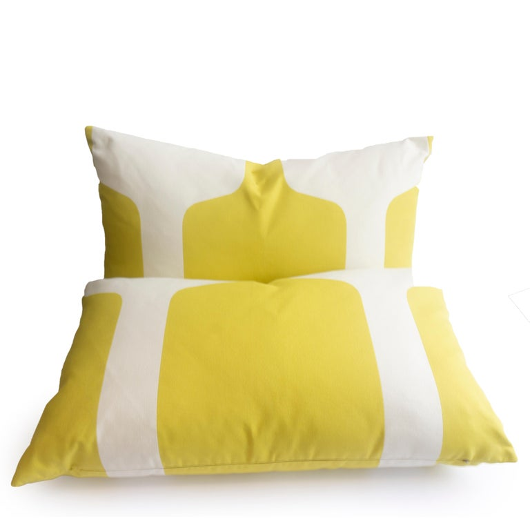 Contemporary Large Throw Pillows in Art Deco Printed Cotton For Sale