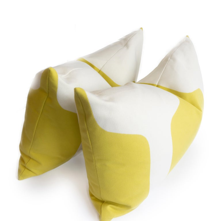 Large Throw Pillows in Art Deco Printed Cotton For Sale 1