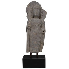 Large Tibetan Buddha Carved Stone Sculpture on Marble Base, 20th Century