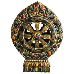 Large Tibetan Hand-Carved and Painted Dharma Wheel