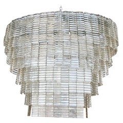 Large Tiered Oval Smoked Murano Glass Chandelier