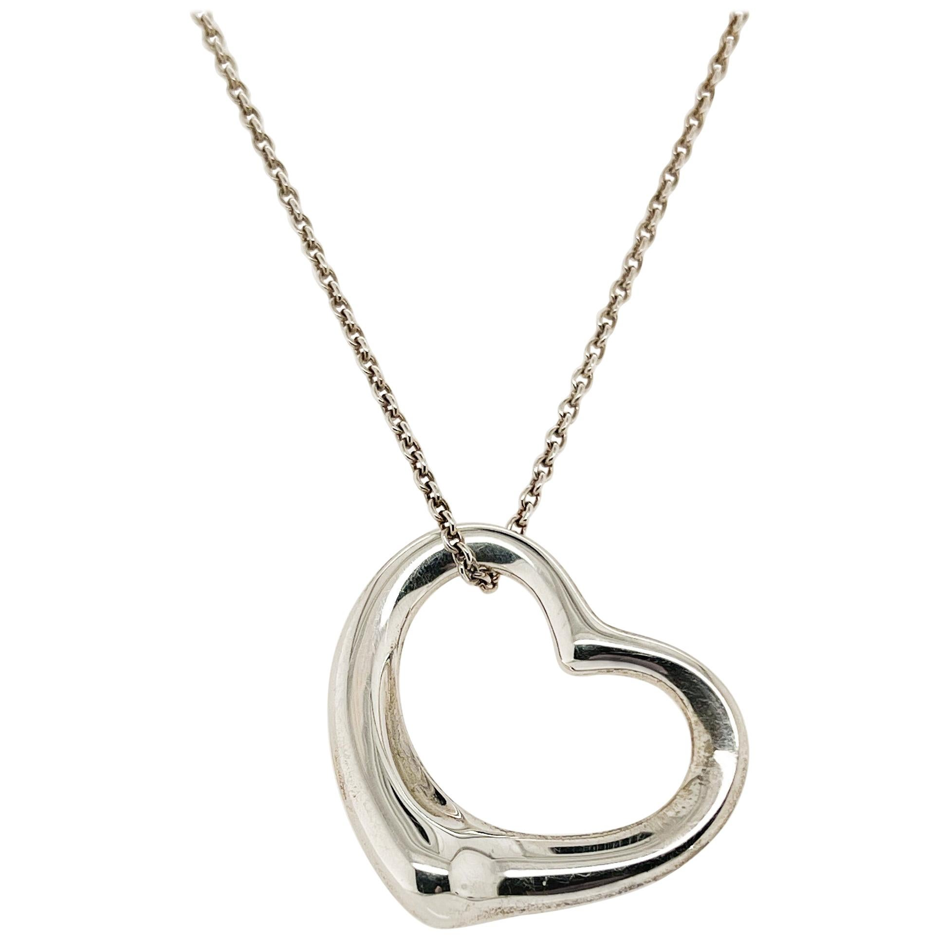 Large Tiffany & Co. Elsa Peretti Sterling Silver Open Heart Pendant Necklace
