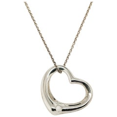 Large Tiffany & Co. Elsa Peretti Sterling Silver Open Heart Pendant Necklace